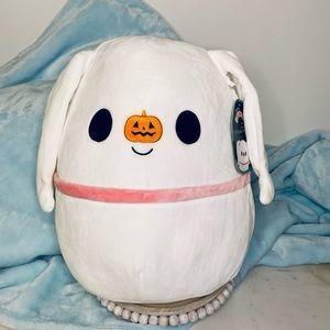 "New Squishmallows Zero white with pumpkin nose 🎃 RARE 15"" nightmare Christmas"